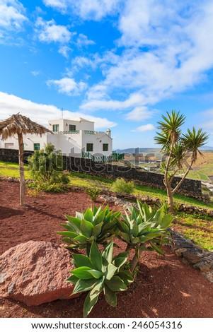 Tropical landscape of Lanzarote island at Mirador de Los Valles, Spain - stock photo