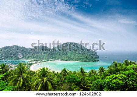 Tropical landscape. Phi-phi island, Thailand. - stock photo