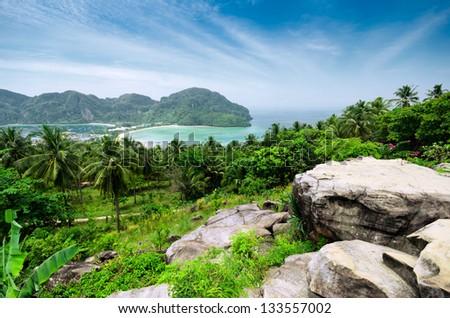 Tropical landscape. Phi-phi island, Thailand. - stock photo