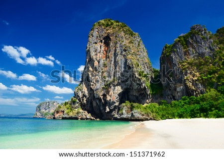 Tropical landscape. Railay beach, Krabi, Thailand - stock photo