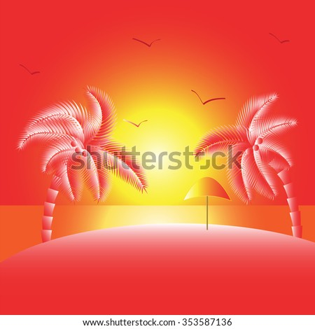 Tropical landscape . Sunset on the sea. Sun, beach and palm trees . Raster version. Illustration - stock photo