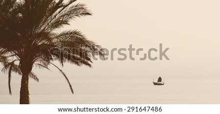 Tropical landscape. Vacation concept. Silhouette of palm tree and ship in a sea - stock photo