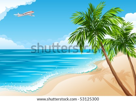 Tropical landscape with beach, sea and palm trees - raster version - stock photo