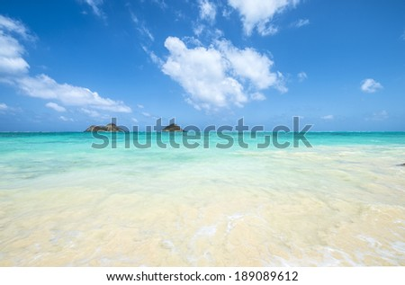 tropical Lanikai beach in Oahu Hawaii with two islands-3 - stock photo
