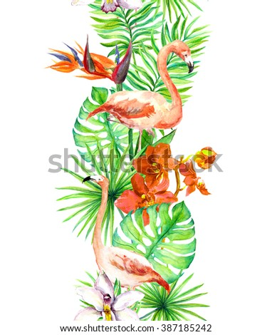 Tropical leaves, flamingo bird, orchid flowers. Seamless border. Watercolor frame - stock photo