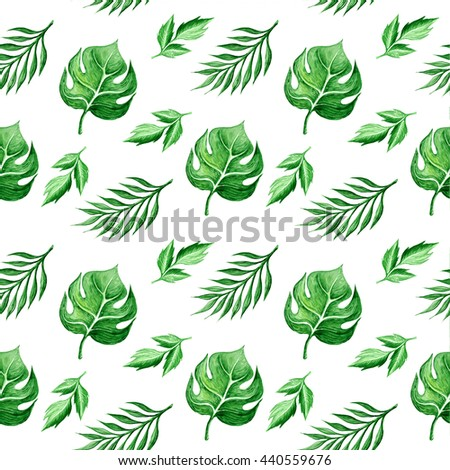 Tropical leaves watercolor seamless pattern - stock photo