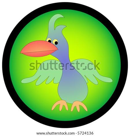 Tropical looking cartoon bird. - stock photo