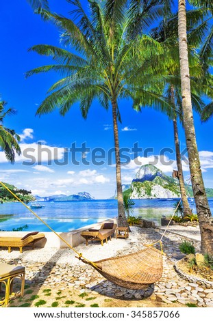 tropical luxury holidays in El Nido. Philippines - stock photo