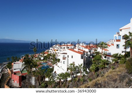 tropical luxury home in Los Gigantos, Canary, Tenerife - stock photo