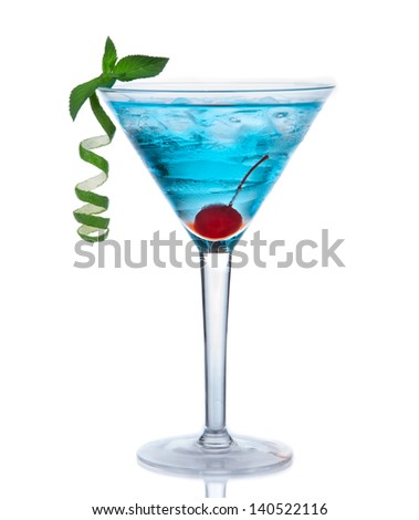 Tropical Martini cosmopolitan cocktail or blue hawaiian alcohol drink isolated on a white background - stock photo
