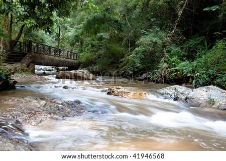 Tropical mountain stream, Thailand - stock photo