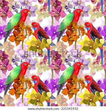 Tropical orchid flowers and parrot birds. Repeating floral pattern. Watercolor - stock photo