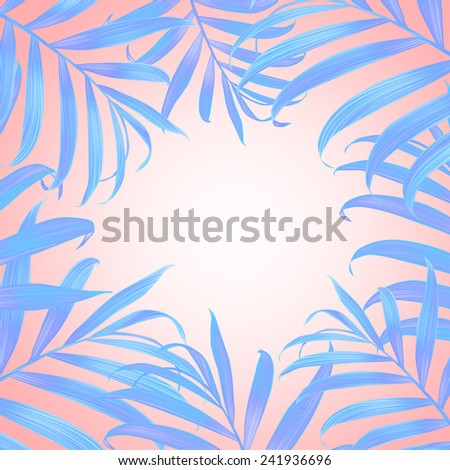 Tropical palm leaves. stylish fashion floral background, in Hawaiian style. Free space for text. - stock photo