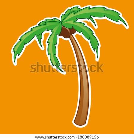 Tropical palm tree symbol isolated - stock photo