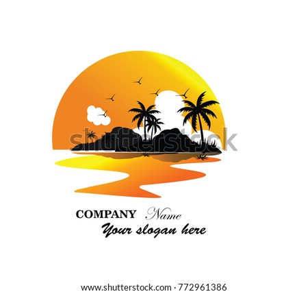 Beach Vector Logo Tropical Palm Trees Island Silhouettes With Sunset Illustration