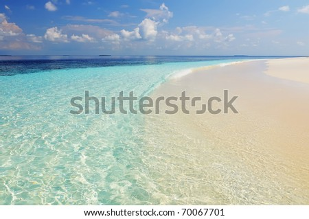 Tropical paradise beach background - clear sea and sand, Maldives