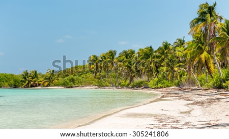Tropical paradise beach on Contoy Island, Mexico - stock photo