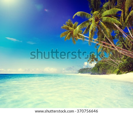 Tropical Paradise Beach Tranquil Scene Concept - stock photo