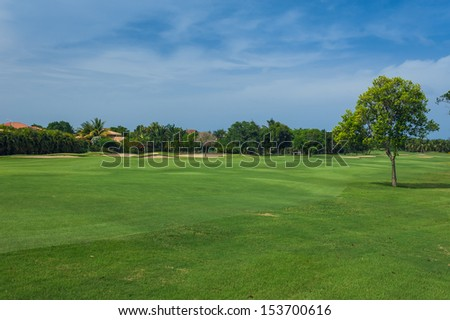 Tropical Paradise. Dominican Republic, Caribbean, Bahamas. a green tropical forest. Pathway in tropical park. Golf Course in Tropical Paradise. Summertime holyday in Dominican Republic