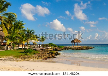 Tropical Paradise. Dominican Republic, Seychelles, Caribbean, Mauritius, Philippines, Bahamas. Relaxing on remote Paradise beach. Vintage. - stock photo