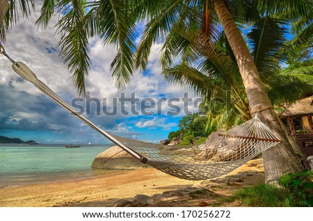 Tropical Paradise - Hammock between palm trees at the seaside on a tropical island - stock photo