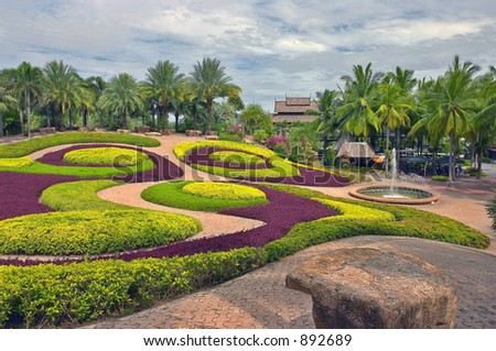 Tropical park - stock photo