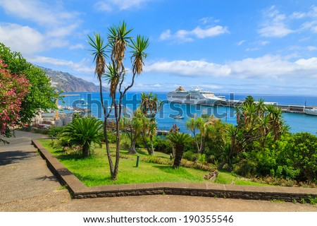 Tropical park in Funchal town with cruise ship on sea in port, Madeira island, Portugal - stock photo