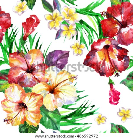 Tropical Pattern Exotic Flowers Hibiscus Frangipani Stock