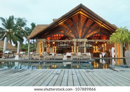 tropical pavilion - stock photo