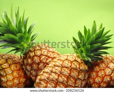tropical pineapples on green background - stock photo