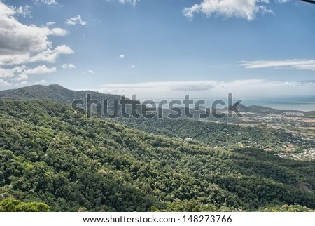 Tropical rain forest from Cairns to Kuranda - Queensland, Australia. - stock photo