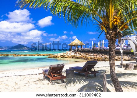 tropical relax - Seychelles islands. Mahe - stock photo