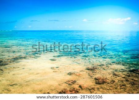 Tropical resort beach. Summer background - stock photo