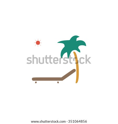 Tropical resort beach. Sunbed Chair. Colorful pictogram symbol on white background. Simple icon - stock photo