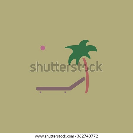 Tropical resort beach. Sunbed Chair. Simple flat color icon on colorful background - stock photo
