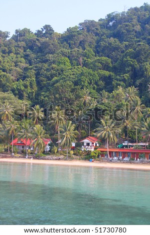 Tropical resort. Bungalows in the jungle, Koh Wai, Thailand - stock photo