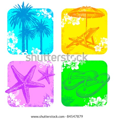 Tropical & resort frame with hand drawn elements - stock photo