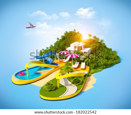 Tropical resort on flip-flops. Unusual illustration of vacation. - stock photo