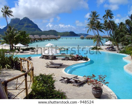 Tropical resort swimming pool in Bora Bora.