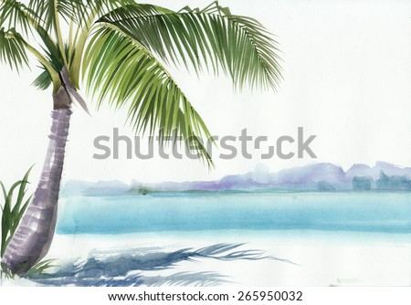 Tropical resort view with a palm. Original watercolor painting. - stock photo