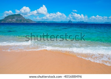 Tropical sand beach, El Nido, Palawan, Philippines, Southeast Asia - stock photo