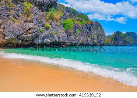 Tropical sand beach, Palawan, Philippines, Southeast Asia - stock photo