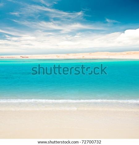 Tropical sandy island - stock photo