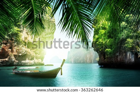 tropical sea and rocks - stock photo