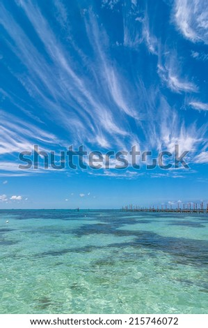 tropical sea and sky in Isla Mujeres, Mexico - stock photo