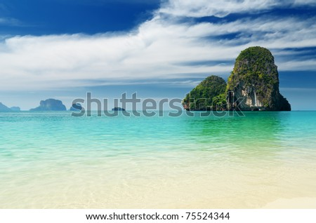 Tropical sea landscape. Thailand, Krabi, Railay beach. - stock photo