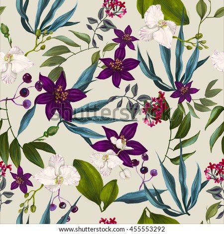 tropical seamless exotic floral fashion pattern -seamless wallpaper - stock photo