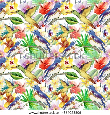 Tropical seamless pattern with palm leaves and flowers. Watercolor illustration.