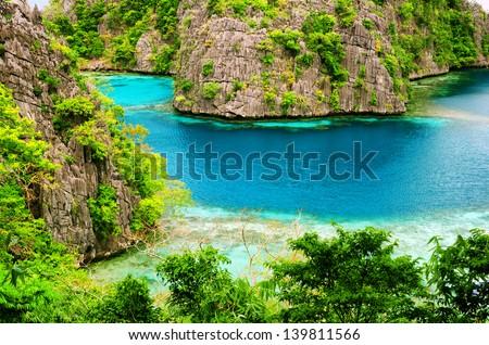 Tropical seashore. Coron, Busuanga island, Palawan province, Philippines. - stock photo