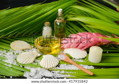 Tropical Spa setting with Green leaf background - stock photo